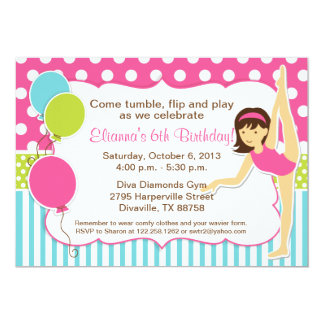 Gymnastic Pink Green and Blue Girl with Dark Hair 5x7 Paper Invitation Card