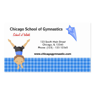 Gymnastic School (Blue) Double-Sided Standard Business Cards (Pack Of 100)
