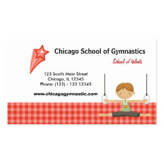 Gymnastic School (Red) Double-Sided Standard Business Cards (Pack Of 100)