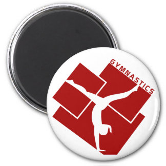Gymnastic Silouhette in Red 2 Inch Round Magnet