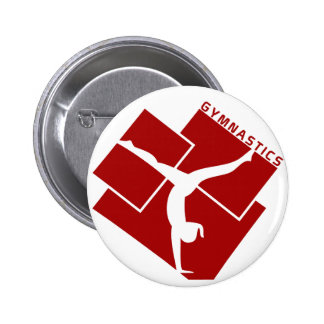 Gymnastic Silouhette in Red Pinback Button