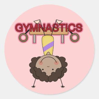 GYMNASTICS - African American Girl Handstands Classic Round Sticker