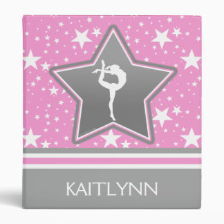 Gymnastics Among the Stars in Pink with YOUR NAME 3 Ring Binder