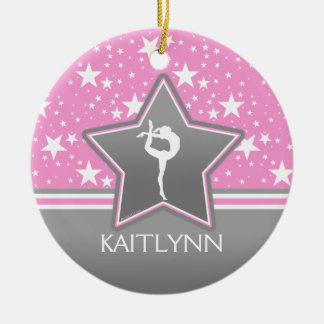 Gymnastics Among the Stars in Pink with YOUR NAME Ceramic Ornament