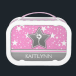 """Gymnastics Among the Stars in Pink with YOUR NAME Lunch Box<br><div class=""""desc"""">Beautiful gymnastics lunchbox with a pink background covered in white stars. It has a grey star with a white silhouette, and a grey banner with a pink and white stripe. Add your name before you order! You can also use the &quot;customize it&quot; button to pick a different font or color...</div>"""