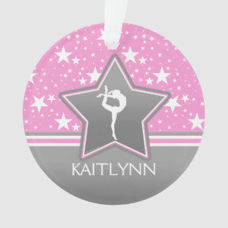 Gymnastics Among the Stars in Pink with YOUR NAME Ornament