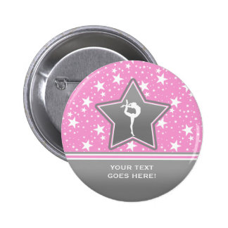 Gymnastics Among the Stars in Pink with YOUR Text Pinback Button