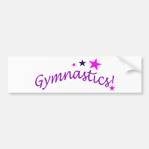 Gymnastics Arched with Stars Bumper Sticker