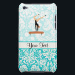 "Gymnastics Balance Beam Barely There iPod Case<br><div class=""desc"">You will love this cute teal damask pattern Gymnastics Balance Beam design. Great for gifts! Available on tee shirts, smart phone cases, mousepads, keychains, posters, cards, electronic covers, computer laptop / notebook sleeves, caps, mugs, and more! Visit our site for a custom gift case for Samsung Galaxy S3, iphone 5,...</div>"