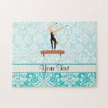 "Gymnastics Balance Beam Jigsaw Puzzle<br><div class=""desc"">You will love this cute teal damask pattern Gymnastics Balance Beam design. Great for gifts! Available on tee shirts, smart phone cases, mousepads, keychains, posters, cards, electronic covers, computer laptop / notebook sleeves, caps, mugs, and more! Visit our site for a custom gift case for Samsung Galaxy S3, iphone 5,...</div>"