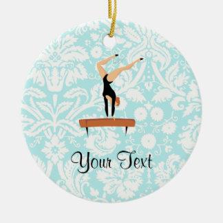 Gymnastics Balance Beam Double-Sided Ceramic Round Christmas Ornament