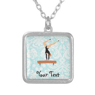 Gymnastics Balance Beam Silver Plated Necklace