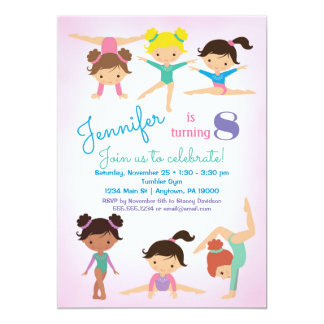 Gymnastics Birthday Invitation - Girls Pink