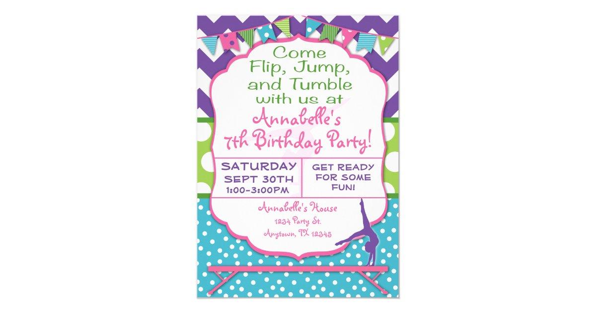 Gymnastics Birthday Party Invitation | Zazzle.com