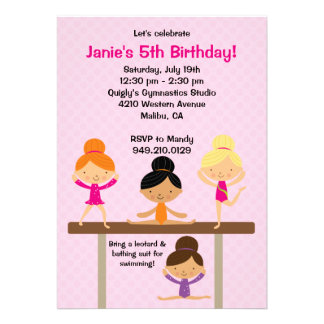 Gymnastics Birthday Party Invitation