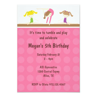 "Gymnastics Birthday Party Invitation 5"" X 7"" Invitation Card"