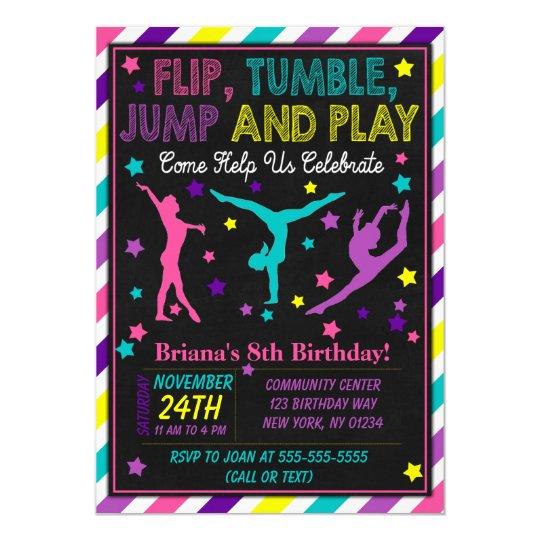 Gymnastics Birthday Party Invitation For A Girl