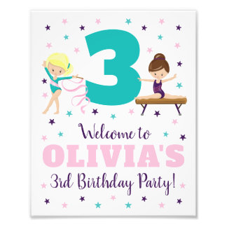 Gymnastics Birthday Party Sign • 8 x 10 Print