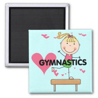 GYMNASTICS - Blond Girl Balance Beam Tshirts 2 Inch Square Magnet