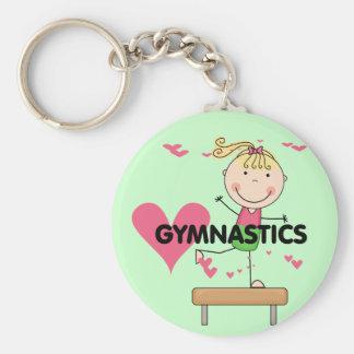 GYMNASTICS - Blond Girl Balance Beam Tshirts Keychain