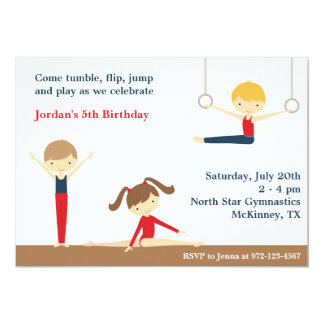 Gymnastics Boy and Girl Birthday Party Invitation Personalized Announcements