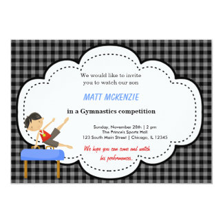 Gymnastics Boy Competition (Black) 5x7 Paper Invitation Card