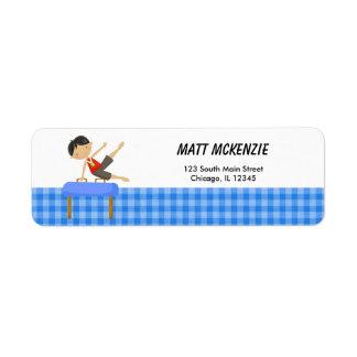 Gymnastics Boy Return Address (Blue) Label