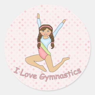 Gymnastics Brunette Classic Round Sticker