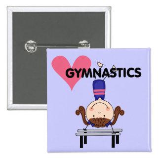 GYMNASTICS - Brunette Girl Handstands Pinback Button