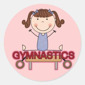 GYMNASTICS - Brunette Girl Splits Tshirts and Gift Classic Round Sticker