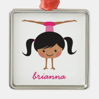 Gymnastics cartoon girl, personalized name metal ornament