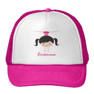Gymnastics cartoon girl, personalized name trucker hat