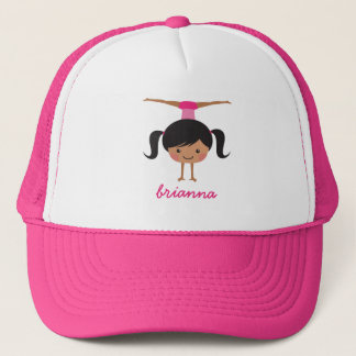 Gymnastics cartoon girl, personalized name trucker hat