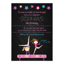 Gymnastics Chalkboard Birthday Invitations