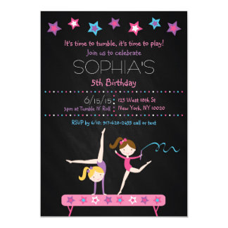 Gymnastics Chalkboard Birthday Invitations
