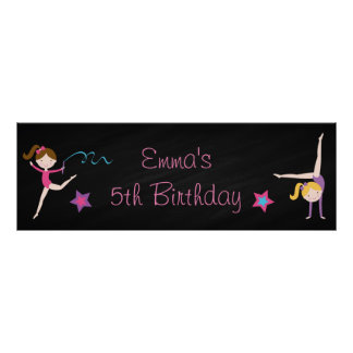 Gymnastics Chalkboard Personalized Birthday Banner Poster