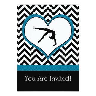 Gymnastics Chevron Heart Personal Party Invitation