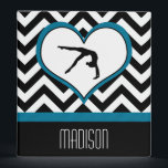 """Gymnastics Chevron Heart with Monogram in Black 3 Ring Binder<br><div class=""""desc"""">A gymnast in a heart over a black and white chevron background... . This 1&quot; binder is perfect for any gymnast.  The text is customizable so that you can add a name before you order!  &#169;gollygirls.com</div>"""