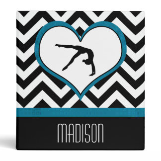 Gymnastics Chevron Heart with Monogram in Black 3 Ring Binder