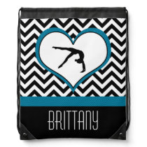 Gymnastics Chevron Heart with Monogram in Black Drawstring Backpack
