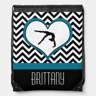 Gymnastics Chevron Heart with Monogram in Black Drawstring Backpack