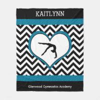 Gymnastics Chevron Heart with Monogram in Black Fleece Blanket