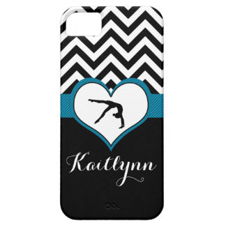 Gymnastics Chevron Heart with Monogram in Black iPhone 5 Cover