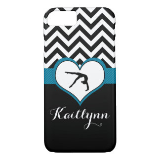 Gymnastics Chevron Heart with Monogram in Black iPhone 8/7 Case