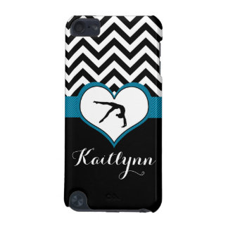 Gymnastics Chevron Heart with Monogram in Black iPod Touch 5G Cases
