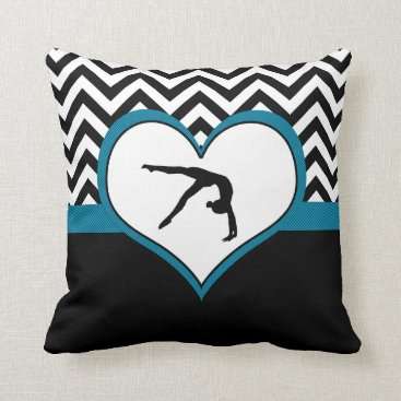 Valentines Themed Gymnastics Chevron Heart with Monogram in Black Throw Pillow