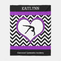 Gymnastics Chevron Heart with Monogram With Purple Fleece Blanket