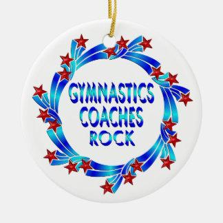 Gymnastics Coaches Rock Red Stars Ceramic Ornament