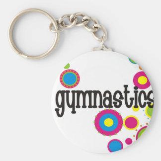 Gymnastics Cool Polka Dots Basic Round Button Keychain