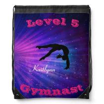 Gymnastics Custom Level & Name Drawstring Backpack